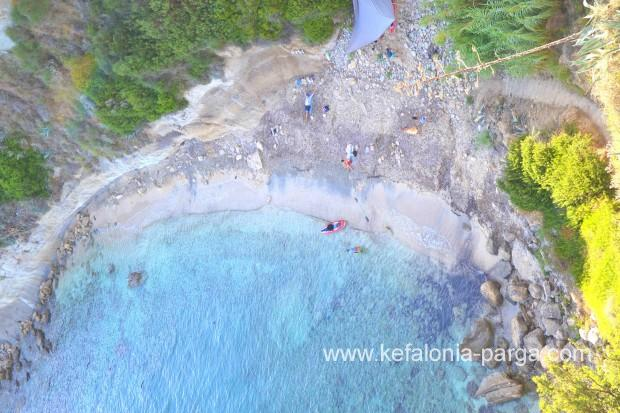 Wild Kefalonia beaches: amazing Thermanti beach in Spartia. Clear waters, sandy coastline. Greece vacations. Kefalonia travel guide.