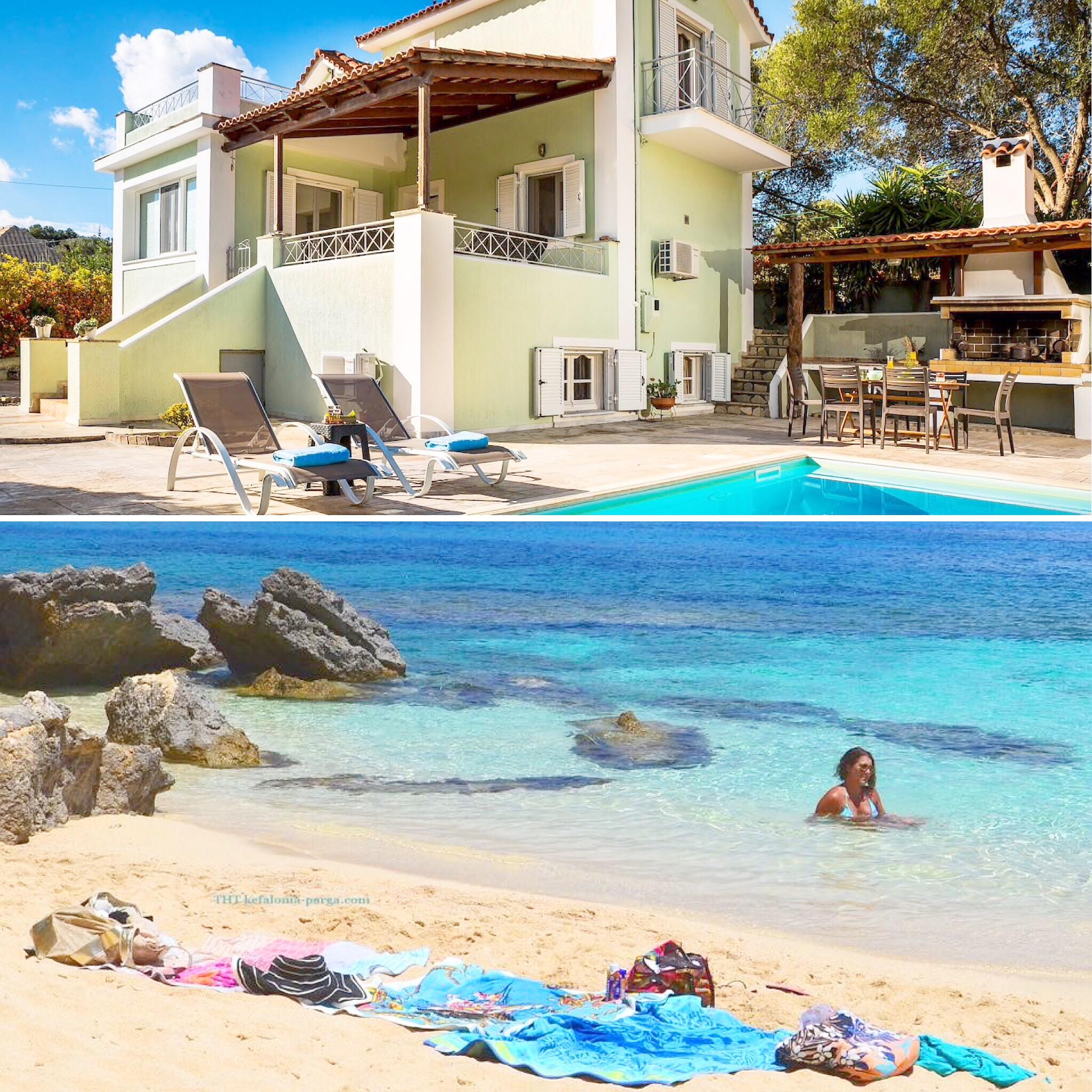 Кефалония виллы с бассейном: вилла с 5 спальнями, бассейном возле очаровательного пляжа Пессада.