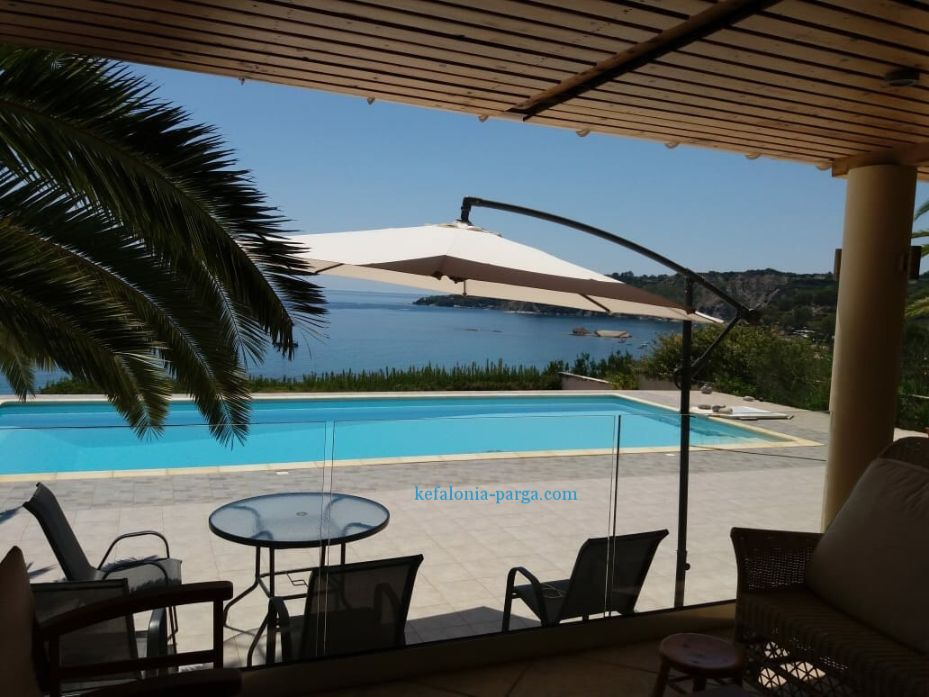 Book one of the best Kefalonia villas with pool settled above the Ionian sea: 4 bedrooms, swimming pool, spacious territory. Kefalonia, Greece.